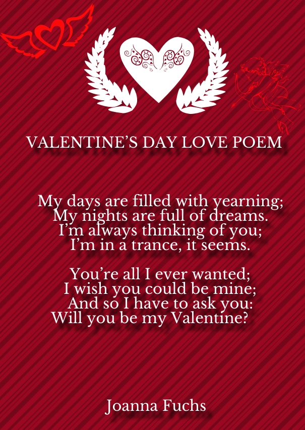 Valentine s day love poems for him and her hug2love for Valentine day for her