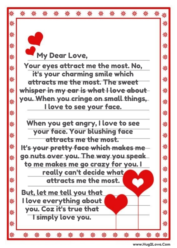 Sweet romantic letter for her