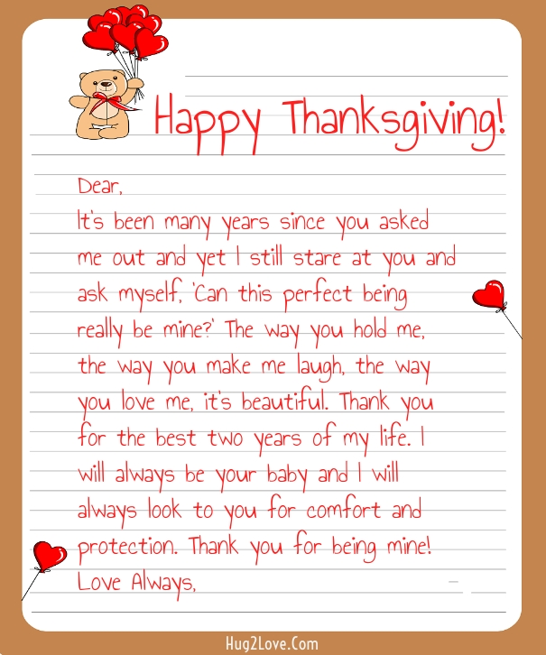 Thanksgiving Love Letters