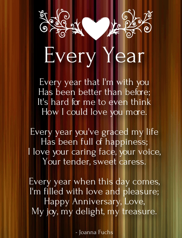 Short anniversary poems for husband