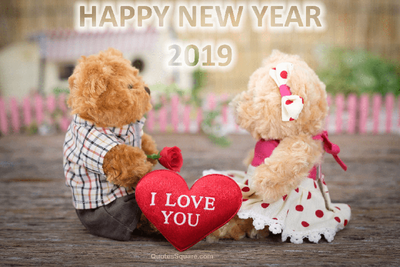 Teddy Bear New Year 2019 I Love You Image