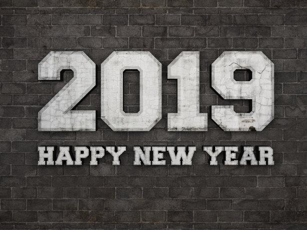Black 2019 Happy New Year Background Image
