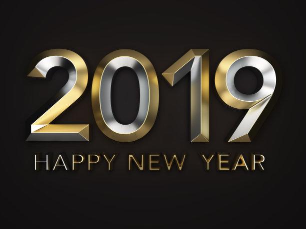 Happy New Year 2019 3d Black Wallpaper