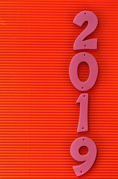 2019 In Pink Numbers On A Red Background