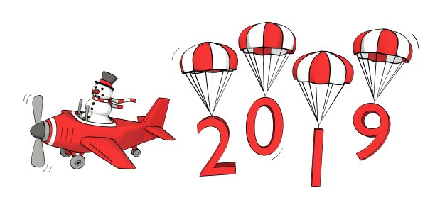 Little Sketchy Snowman Flying In A Plane And The Year 2019 On Parachutes